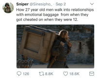 Blackpeopletwitter, Life, and Relationships: Sniper @Sinesipho_ Sep 2  How 27 year old men walk into relationships  with emotional baggage from when they  got cheated on when they were 12.  126 8.8K 18.6K <p>Let the past go, you should never walk through life carrying dead weight 💀 (via /r/BlackPeopleTwitter)</p>