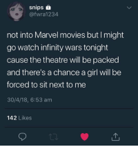 Movies, Girl, and Infinity: snips  @fwra1234  not into Marvel movies but I might  go watch infinity wars tonight  cause the theatre will be packed  and there's a chance a girl will be  forced to sit next to me  30/4/18, 6:53 am  142 Likes me irL