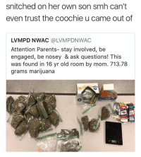 Snitched on her own son 😩 https://t.co/OIW0uAfNzA: snitched on her own son smh can't  even trust the coochie u came out of  LVMPD NWAC @LVMPDNWAC  Attention Parents- stay involved, be  engaged, be nosey & ask questions! This  was found in 16 yr old room by mom. 713.78  grams marijuana  299 Snitched on her own son 😩 https://t.co/OIW0uAfNzA