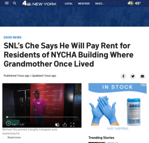 SNL Head Writer Michael Che Will Pay Rent for Residents of NYCHA Building Where Grandmother, who died from Rona, Once Lived: SNL Head Writer Michael Che Will Pay Rent for Residents of NYCHA Building Where Grandmother, who died from Rona, Once Lived