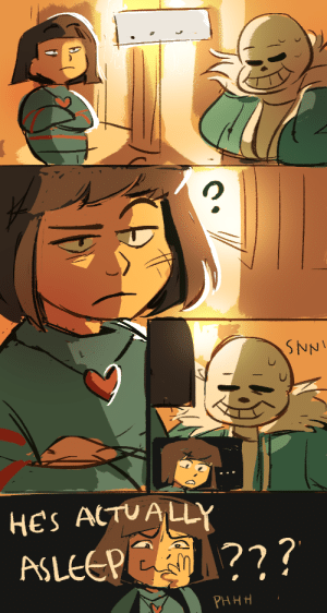 a-vodka-mutini:  happy bday undertale!! I cleaned up(sorta) a WIP comic from my last undertale phase: SNNI  HES ACTUALLY  ASLEEPE ?  PHHH a-vodka-mutini:  happy bday undertale!! I cleaned up(sorta) a WIP comic from my last undertale phase