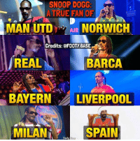 Loyalty Level: Zlatan 😂 Tag that unloyal friend 👇 Double Tap & Follow me @footy.base for more! ❤️: SNOOP DOGG:  A TRUE FAN OF  MAN UTDAIR NORWICH  Credits: @FOOTYBASE  REAL  BARCA  BAYERN LIVERPOOL  MILAN  SPAIN Loyalty Level: Zlatan 😂 Tag that unloyal friend 👇 Double Tap & Follow me @footy.base for more! ❤️