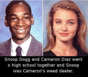 School, Snoop, and Snoop Dogg: Snoop Dogg and Cameron Diaz went  o high school together and Snoop  was Cameron's weed dealer. Shizzle dizzle