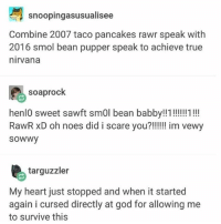 rawr: snoopingasusualisee  Combine 2007 taco pancakes rawr speak with  2016 smol bean pupper speak to achieve true  nirvana  soaprock  henlO sweet sawft smOl bean babby!!1!!!1!!  sowwy  targuzzler  My heart just stopped and when it started  again i cursed directly at god for allowing me  to survive this