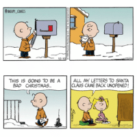 Write to santa for Charlie Brown! snoopycomics cartoon comics charliebrown sally: SNOOPY COMICS  12-10  THIS IS GOING TO BE A  ALL MY LETTERS TO SANTA  CLAUS CAME BACK UNOPENED!  BAD CHRISTMAS. Write to santa for Charlie Brown! snoopycomics cartoon comics charliebrown sally