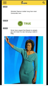 Michelle Obama: Snopes  CLAIM  Michelle Obama is better hung than most  Democratic men.  RATING  TRUE  ORIGIN  Some have argued that Barack is actually  gay and knew he was marrying a dude in  drag
