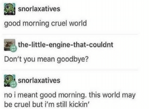 Memes, Good Morning, and Good: snorlaxatives  good morning cruel world  the-little-engine-that-couldnt  Don't you mean goodbye?  snorlaxatives  no i meant good morning. this world may  be cruel but i'm still kickin' https://t.co/OtvTGFTrDn