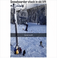 I was going to ask how it's hanging but... 😱😂 (@storyful): Snowboarder stuck in ski lift  Good lord!! I was going to ask how it's hanging but... 😱😂 (@storyful)