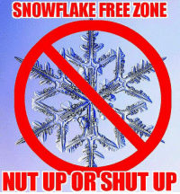 Memes, Shut Up, and Inconvenience: SNOWFLAKE FREE ZONE  NUTUPOR SHUT UP Freedom is a hot mess, but worth every inconvenience, offense and danger it entails. It is not for the faint of heart, thin-skinned or fragile snowflake. Here we prefer the dangerous tumult of freedom over the peaceful servitude of slavery. Safety Pin? HELL NO. Firing Pins? OH YEAH!!  Educate - Motivate - Advocate  Gun Up, Train and Carry  Jon Britton aka DoubleTap