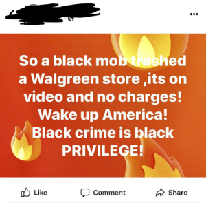 My first time hearing about black privilege: So a black mob trashed  a Walgreen store ,its on  video and no charges!  Wake up America!  Black crime is black  PRIVILEGE!  Share  Like  Comment My first time hearing about black privilege