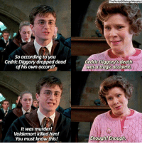 Memes, 🤖, and Accord: So according to you  Cedric Diggory dropped dead  of his own accord?  It was murder!  Voldemort killed him!  You must know this!  ThePerksOfBeingaWeasley  Cedric Diggory'sdeath  was a tragic accident.  Enough! Enough. maybe umbridge should drop dread of her own accord lol harrypotter