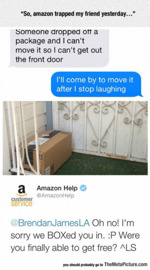 """srsfunny:Amazon Trap: """"So, amazon trapped my friend yesterday...""""  Someone dropped otf a  package and I can't  move it so I can't get out  the front door  I'll come by to move it  after l stop laughing  a Amazon Help  @AmazonHelp  customer  service  @BrendanJamesLA Oh no! I'm  sorry we BOXed you in. :P Were  you finally able to get free? ALS  you should probably go to TheMetaPicture.com srsfunny:Amazon Trap"""