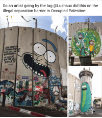 Artist, Wall Street, and Palestine: So an artist going by the tag @Lushsux did this on the  illegal separation barrier in Occupied Palestine:  LOOK MOR  ITURNED MYSE  INTO AN ILLEG AL  BORDER WALL  'M ILLEGAL  BORDER WALL  Rrlcku  Wall Street  ba  fo