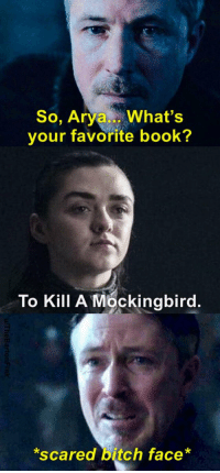 https://t.co/AuMAHFULkF: So, Arya What's  your favorite book?  To Kill A Mockingbird.  scared bitch face* https://t.co/AuMAHFULkF