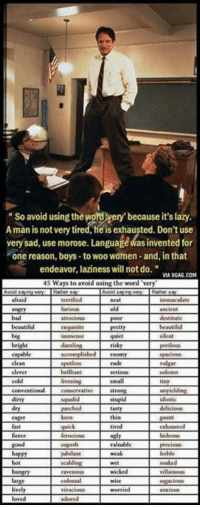 "Lazy, Love, and Memes: So avoid using thewordwery because it's lazy  Aman is not very tired, he is exhausted. Don't use  very sad, use morose. Languagedasinvented for  one reason, boys-to woo women-and, inthat  endeavor, laziness will not do.""  MA SGAG.COM  45 Ways to avoid using the word ""very  furious old  poor  l Leng uisite pretty  quiet silent  capable accomplished roomy Paciou  conventional  ry parched tasty  ence Llerocious ugly  loved"
