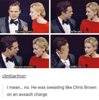 luos ym gnilles m'i sebastianstan: So do you.  You look great!  Are you nervous?  Imean.. no.  clintbarthon  I mean... no. He was sweating like Chris Brown  on an assault charge luos ym gnilles m'i sebastianstan