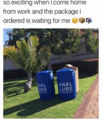 Work, Anal, and Home: so exciting when i come home  from work and the package i  ordered is waiting for me .  ANAL  LUBE  NAL  UBE  Use Only  eternal Use Only 🤣🤣😂