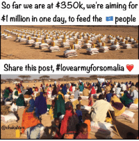 Memes, 🤖, and The Link: So far we are are at we're aiming for  for  $t million in one day, to feed the apeople  Share this post, #lovearmyforsomalia  chaka bars This is a people's movement, like this post, comment, and tag everyone. Click the link in my bio, we are going to get $1 million in 24 hours! When it reaches 1000 comments and 5000 likes I will come back on live and show you what is going on in the Love army HQ ❤ lovearmyforsomalia