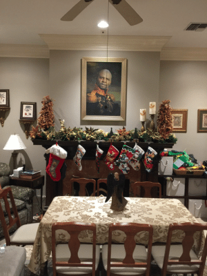 So, for the 6 months leading up to Christmas, my siblings and I slowly replaced my parents Knick knacks with the same picture of terry crews (a game we lovingly named, Knick knack toe)... on Christmas morning, my parents woke up to this master piece.: So, for the 6 months leading up to Christmas, my siblings and I slowly replaced my parents Knick knacks with the same picture of terry crews (a game we lovingly named, Knick knack toe)... on Christmas morning, my parents woke up to this master piece.