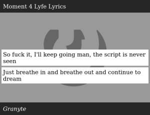SIZZLE: So fuck it, I'll keep going man, the script is never seen Just breathe in and breathe out and continue to dream