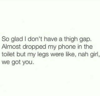 thigh gap: So glad don't have a thigh gap.  Almost dropped my phone in the  toilet but my legs were like, nah girl,  we got you.