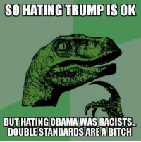 Logic, Memes, and Racist: SO HATING TRUMP IS OK  BUT HATING OBAMA WAS RACISTS  DOUBLE STANDAROS ARE A BITCH Freaking liberal logic. She make sure you've liked our page Women, Weapons Warfare II to see more funny stuff