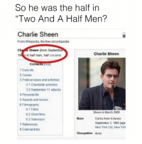 "This is starting to make so much sense…: So he was the half in  ""Two And A Half Men?  Charlie Sheen  From Wikipedia, the free encyclopedia  Ch  e Sheen (born Septembe  Charlie Sheen  194 is half man, half cocaine.  Contents  1 Early life  2 Career  3 Political views and activities  3.1 Charitable activities  32 September 11 attacks  4 Personal life  5Awards and honors  6 Filmography  6.1 Films  Sheen in March 2009  6.2 Short films  Carlos Irwin Estevez  Born  6.3 Television  September 3, 1965 (age  7 References  New York City, New York  8 External links  Occupation Actor This is starting to make so much sense…"