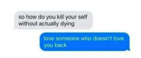 Your Selfs: so how do you kill your self  without actually dying  love someone who doesn't love  you back
