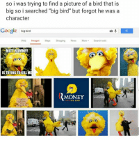 "Yup i can confirm, after conducting a research that this post is true: so i was trying to find a picture of a bird that is  big so i searched ""big bird"" but forgot he was a  character  Google big bird  Web Images Maps Shopping News MoreSearch tools  MITT{ROMNEY  IS TRYING TO KILLM  MONEY Yup i can confirm, after conducting a research that this post is true"
