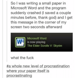 I am procrastinating right now.: So I was writing a small paper in  Microsoft Word and the program  suddenly crashed (l saved a couple  minutes before, thank god) and I get  this message in the corner of my  screen two seconds afterward  Microsoft Word  is now playing  The Elder Scrolls V Skyrim  what the fuck  #a whole new level of procrastination  where your paper itself is  procrastinating I am procrastinating right now.