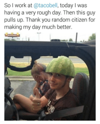 """<p>I hope this makes everyone&rsquo;s day better. via /r/wholesomememes <a href=""""http://ift.tt/2jqPcfb"""">http://ift.tt/2jqPcfb</a></p>: So I work at @tacobell, today I was  having a very rough day. Then this guy  pulls up. Thank you random citizen for  making my day much better. <p>I hope this makes everyone&rsquo;s day better. via /r/wholesomememes <a href=""""http://ift.tt/2jqPcfb"""">http://ift.tt/2jqPcfb</a></p>"""