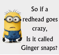 Ginger Snap Meme: So if a  Do redhead goes  crazy,  Is it called  Ginger snaps?