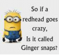 Ginger Snap Meme: So if a  OO redhead goes  Crazy,  s it called  Ginger snaps