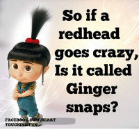 Ginger Snap Meme: So if a  redhead  goes crazy  Is it called  Ginger  snaps?  FACEBOOK COMIHEART  TOUCHING FUN