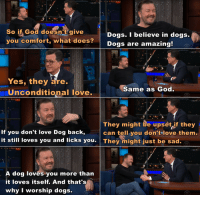 Ricky Gervais tells Stephen Colbert why dogs are amazing and why he worships them.: So if God doesn't give  you comfort, what does?  Dogs. I believe in dogs.  Dogs are amazing  Yes, they are.  Uinconditional love.  Same as God  They might be upset if they  can tell you don tlove them.  If you don't love Dog back,  it still loves you and licks you They might just be sad.  A dog loves you more than  it loves itself. And that's  why I worship dogs. Ricky Gervais tells Stephen Colbert why dogs are amazing and why he worships them.