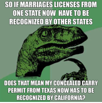 Sounds good to me.: SO IF MARRIAGESLICENSES FROM  ONE STATE NOW HAVE TO BE  RECOGNIZED BY OTHER STATES  ALIBERTARIANFUTURE.COM  DOES THAT MEAN MY CONCEALEDCARRY  PERMIT FROM TEXAS NOW HAS TO BE  RECOGNIZED BY CALIFORNIA Sounds good to me.