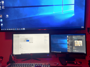 So I'm trying to to have my tv as a third monitor so when I watch Netflix I can toss it there and lay in bed but windows doesn't seem to realize it's so much bigger then my other monitors Soni can't get it's size to line up right for bringing my mouse curser up to it any ideas?: So I'm trying to to have my tv as a third monitor so when I watch Netflix I can toss it there and lay in bed but windows doesn't seem to realize it's so much bigger then my other monitors Soni can't get it's size to line up right for bringing my mouse curser up to it any ideas?
