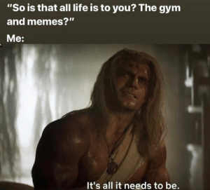 """All I need.: """"So is that all life is to you? The gym  and memes?""""  Me:  It's all it needs to be. All I need."""
