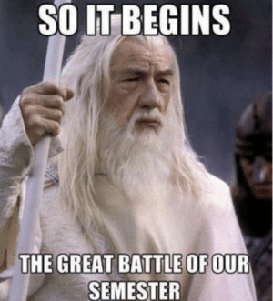 Reddit, Good, and Luck: SO IT BEGINS  THE GREAT BATTLE OF OUR  SEMESTER Good luck on exams!