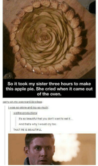 Apple, Beautiful, and Memes: So it took my sister three hours to make  this apple pie. She cried when it came out  of the oven.  It's so beautiful that you don't want to eat it...  And thats why I would cry too.  THAT PIE IS BEAUTIFUL