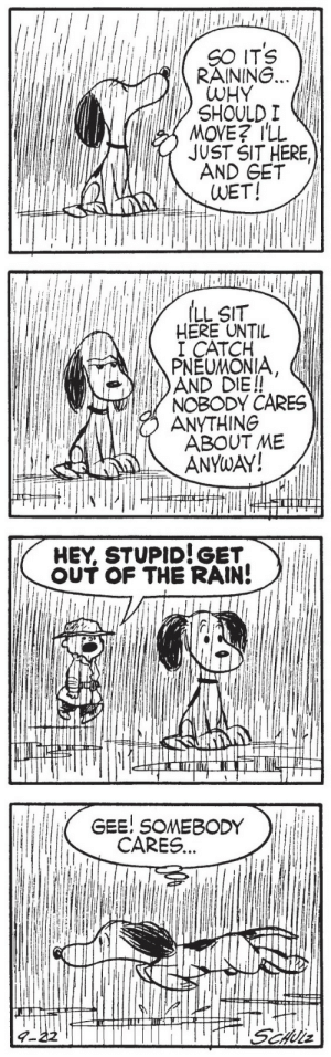 gameraboy1:  Peanuts, September 22, 1955: SO ITS VI  RAINING.  WHY  SHOULD I  MOVE? ILL  JUST SIT HERE,  AND GET  WET!   ILL SIT  HERE UNTIL  I CATCH  PNEUMONIA  AND DIE!!  NOBODY CARES  ANYTHING  ABOUT ME  ANYwAY!   HEY, STUPID!GET  。UT OF THE RAIN!   GEE! SOMEBODY  CARES... gameraboy1:  Peanuts, September 22, 1955