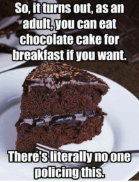 Valentine's Day is the perfect excuse.: So, itturns out, as an  'adult, you can eat  chocolate cake for  breakfast if you want.  Theres literally noone  policing this. Valentine's Day is the perfect excuse.