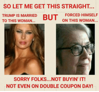 <p>OK this is fucking disgusting. Whether you believe Trump did anything or not, I am sick of these stupid memes (and Trump himself) joking about how the women accusing Trump are too ugly for him to sexually assault. Sexual assault is about power, not attraction. To minimize the seriousness of sexual assault by joking that certain people are too ugly to be sexually assaulted is appalling.</p>: SO LET ME GET THIS STRAIGHT...  TRUMP IS MARRIED  TO THIS WOMAN.  FORCED HIMSELF  ON THIS WOMAN...  SORRY FOLKS...NOT BUYIN' IT!  NOT EVEN ON DOUBLE COUPON DAY! <p>OK this is fucking disgusting. Whether you believe Trump did anything or not, I am sick of these stupid memes (and Trump himself) joking about how the women accusing Trump are too ugly for him to sexually assault. Sexual assault is about power, not attraction. To minimize the seriousness of sexual assault by joking that certain people are too ugly to be sexually assaulted is appalling.</p>
