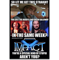Memes, Arent You, and 🤖: SO LET ME GET THIS STRAIGHT  YOU LOST THE HARDYSAND DREW GALLOWAY  IN THE SAMEWEEK?  ON TWTTTER  IMEACT  T TATA  YOU'RE A SPECIAL KINDOF STUPID  AREN'T YOU? tnaimpact is on the verge of losing the hottest gimmick in professionalwrestling matthardy jeffhardy drewgalloway wwe wwememes raw share love prowrestling wrestling follow memes lol haha share like stillrealradio stillrealtous burn smackdownlive