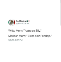 "Latinos, Memes, and White: So Mexicanl  @SOMEXICAN  White Mom: ""You're so Silly.""  Mexican Mom: "" Estas bien Pendeja.""  9/3/18, 8:51 PM  1 Truee 😂😂😂😂😂 🔥 Follow Us 👉 @latinoswithattitude 🔥 latinosbelike latinasbelike latinoproblems mexicansbelike mexican mexicanproblems hispanicsbelike hispanic hispanicproblems latina latinas latino latinos hispanicsbelike"