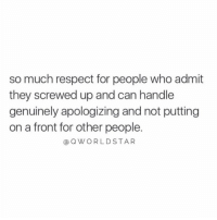 """The key to growth is taking ownership & responsibility for your mistakes & shortcomings...a person in denial never gets far..."" 💯 @QWorldstar #PositiveVibes https://t.co/cpuQRuRN9J: so much respect for people who admit  they screwed up and can handle  genuinely apologizing and not putting  on a front for other people.  @QWORLDSTAR ""The key to growth is taking ownership & responsibility for your mistakes & shortcomings...a person in denial never gets far..."" 💯 @QWorldstar #PositiveVibes https://t.co/cpuQRuRN9J"