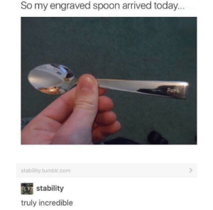 Tumblr, Today, and Spoon: So my engraved spoon arrived today...  Fork  stability.tumblr.comm  stability  truly incredible Woah