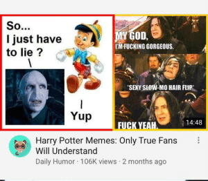 are you a true fan?: So...  MY GOD,  EM-FUCKING GORGEOUS.  I just have  to lie?  SEXY SLOW-MO HAIR FLIP  Yup  14:48  FUCK YEAH  Harry Potter Memes: Only True Fans  Will Understand  Daily Humor 106K views 2 months ago are you a true fan?