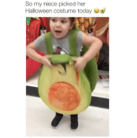 Halloween, Memes, and Avocado: So my niece picked her  Halloween costume today I'm an avocado 😂 Credit: @leoramirez8