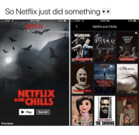 Netflix, The Shining, and American: So Netflix just did something  6:57 PM  6:57 PM  53%  Netflix and Chills  FX  WALKING DEAD .  AMERICAN  Vampire iane  NEW EPISODES  NEW EPISODES  COJURING  ST  THINGS  NETFLIX  AND CHILLS  Play  See All  STANLEY KUBRICK S  THE SHINING  Previews #NetflixandChills 👀 https://t.co/x1aSNjmeuW